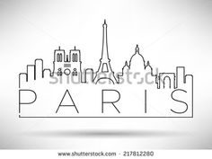 City of Paris Skyline with Minimal Design