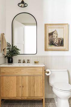 Bathroom Inspiration, Interior Inspiration, Bathroom Renos, Small Bathroom, Remodel Bathroom, Washroom, Bathroom With Beadboard, Bathroom Ideas, Wood Bathroom
