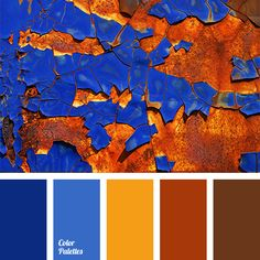 Palette Different in sounding, but the same in strength brick-orange and dark blue colours balance each other, making aesthetically pleasing combination. Orange Palette, Orange Color Schemes, Orange Color Palettes, Blue Colour Palette, Dark Blue Color, Blue Orange, Blue Brown, Color Combinations, Blue Color Pallet