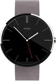 Motorola Moto 360 Smartwatch, Display 1.56 pollici, Memoria 4GB, RAM 512MB, Android Wear, 4GB, cinturino in pelle, colore Argento (Silver)