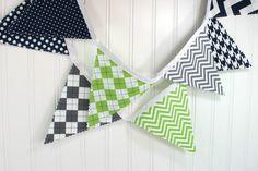 Bunting Banner, Photography Prop, Fabric Flags, Nursery Decor, Birthday Decoration, Garland - Lime Green, Gray, Navy Blue, Grey, Chevron