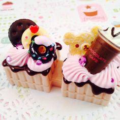 Kawaii Chocolate Cafe Rilakkuma Decoden Contact by Lucifurious, $14.00