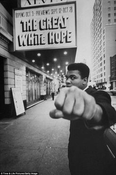 Out of the ring, into the theater: Muhammad Ali poses outside New York's Alvin Theater (now the Neil Simon Theatre) in October 1968. James E...