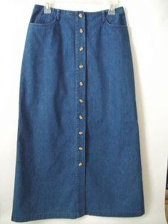 Womens Talbots Long Jean Skirt Blue Denim Size 8 #Talbots #ALine