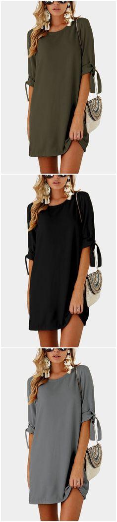 Black Self-tie at Sleeves Mini Dress US$13.95