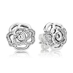 Rose silver stud earrings with cubic zirconia