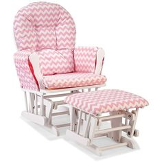 Stork Craft Chevron Hoop Custom Glider Chair & Ottoman Set (Pink) ($190) ❤ liked on Polyvore featuring home, children's room, children's furniture and pink