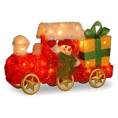 National Tree Tinsel Train with Gift and Snowman with Green Scarf with 35 Clear Outdoor ULLights 23Inch ** Click on the image for additional details.