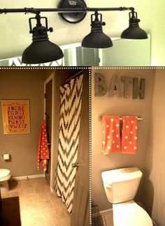 Darling gray and coral bathroom
