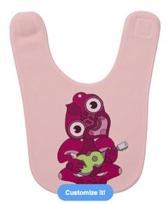 Baby bib for a girl. Pink Hei Tiki (New Zealand / Aotearoa design) playing a grey ukulele. By mailboxdisco