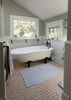 bathroom with aqua claw foot tub, Badezimmer mit Aquaklauenfußwanne, bathroom decor Small Bathroom, Bathrooms Remodel, House, Home, French Country Bathroom, Bathroom Design, Beautiful Bathrooms, Floor Colors, Clawfoot Tub Bathroom