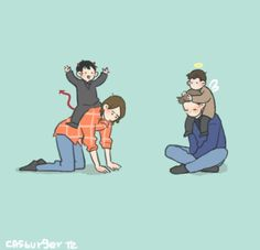 "lol #spn cartoon Sam, Dean, Cas and Crowley. I can see Crowley saying, ""GO MOOSE! GO!"" xD"