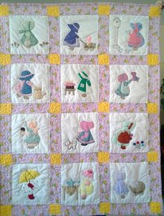 Sunbonnet Sue quilt designed, hand sewn and hand quilted by Mom for her new great granddaughter.