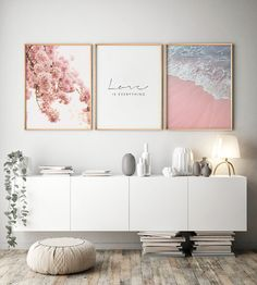 Scandinavian Style Poster Sea Beach Decorative Picture Pink Flower Wall Art for Living Room Nordic Decoration Home Decor 3 Piece Wall Art, Wall Art Sets, Floral Bedroom Decor, Impressions Botaniques, Art Mural, Inspiration Wall, Living Room Art, Botanical Prints, Botanical Decor
