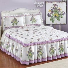 Ruffled Iris Bouquet Bedspread from Collections Etc. Bedroom Red, Bedroom Decor, Iris Bouquet, Bed Cover Design, Designer Bed Sheets, Collections Etc, Doll Beds, Little Girl Rooms, Bed Covers