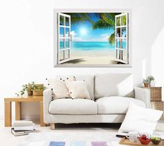 "Amazon.com: Wall26® - White Sand Beach with Palm Tree Open Window Mural Wall Decal Sticker - 36""x48"": Home & Kitchen"