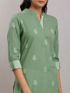 Buy Green Hand Block Printed Cotton Kurta with Off White Pants- Set of 2 online at Theloom