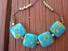 For sale:  $36 USD.  Necklace Turquoise Howlite with brass on waxed linen by wendymaves
