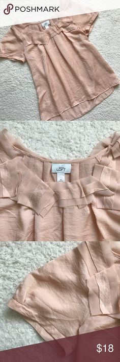 "Loft Blush Pink Blouse This top is so cute.  Size Medium.  Slight high- low.  Measurements laying flat are approximately:  Bust 19"".  Length 26"". LOFT Tops Blouses"