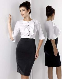 office look white blouse black pencil  skirt