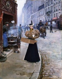 Le Marchand de Marrons, The Roasted Chestnut Seller by Jean Béraud, 1890 Michelangelo, Saint Denis Paris, Jean Beraud, Paris Champs Elysees, Old Paris, European Paintings, Victorian Art, Victorian Paintings, Paintings I Love
