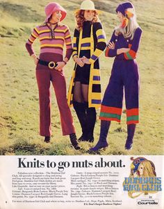 1970s knitwear, brightly colored, comfy, had a made at home look