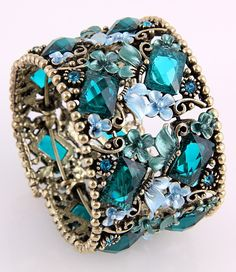 Silver & Turquoise Austrian Rhinestone Bangle Bracelet - love the little flowers #fashion #jewelry #accessories