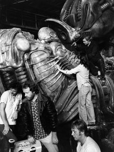 "A behind-the-scenes moment from the famous space jockey scene in ""Alien"" (1979) with director Ridley Scott (left) and alien designer H.R. Giger."