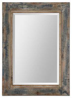 Bozeman Distressed Wood Mirror, Blue - rustic - Wall Mirrors - Fratantoni Lifestyles