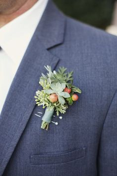 succulent + berry boutonniere // photo by Readyluck // bout by Cottage Flowers @Four Seasons Bridal