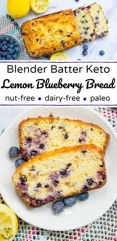 Enjoy this easy Blender Batter Keto Lemon Blueberry Bread as a nut-free, dairy-free, paleo breakfast, snack, or dessert! It's protein packed to keep you full and your blood sugar stable. Plus, lots of fiber and flavor! It's definitely a must-make low-carb treat! #allthenourishingthings #lemon #lemonbread #keto #paleo #nutfree #dairyfree #blueberries #grainfree