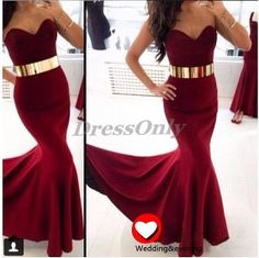 Fashion Mermaid Prom Dresses Burgundy Sweetheart Sexy by DressOnly, $119.00