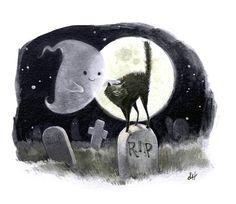 Cute ghost illustration by Sydney Hanson Halloween Illustration, Art Et Illustration, Illustrations, Halloween Vintage, Halloween Prints, Spooky Halloween, Happy Halloween, Halloween Images, Samhain Halloween
