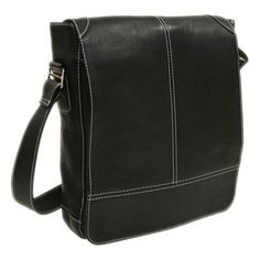 Piel Leather Black Urban Vertical Messenger Bag
