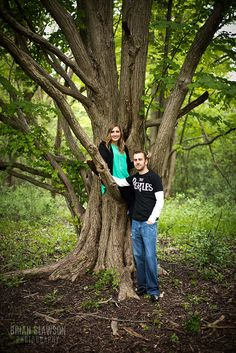 Photo by: Brian Slawson Photography. Climb a tree! Fun engagement shoot. #engaged #tree #outdoor #green
