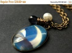 HOLIDAY SALE Moon Necklace. Crescent Moon Pendant with Dark Blue Teardrop and Pearl. Moon Charm Necklace. Wearable Art Jewelry. Handmade Jew by TheTeardropShop from The Teardrop Shop. Find it now at http://ift.tt/2g1988h!