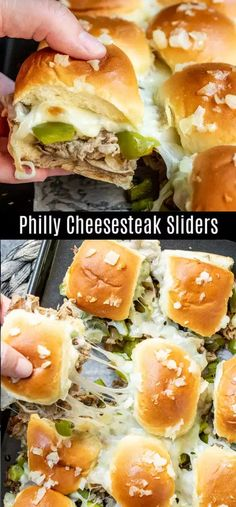 These Philly Cheesesteak sliders are a great football party food idea that is perfect for a crowd. Baked sliders filled with thinly sliced steak, provolone cheese, peppers, and onions make the ultimate Super bowl recipe, March Madness recipe, party appetizer, or just an awesome weeknight dinner recipe. #football #gameday #appetizer #sliders #phillycheesesteak #homemadeinterest Football Party Foods, Football Food, Superbowl Party Food Ideas, Food For Dinner Party, Food For Parties, Party Food Recipes, Simple Party Food, Birthday Food Ideas, Fun Dinner Ideas