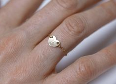 Gold Heart Ring Initial Ring Bridesmaids Gift by MinimalVS on Etsy, $23.00
