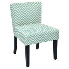 This beautiful desk chair offers a chevron design in mist atop a white background. Crafted of quality fabrics and woods, this chair offers style and comfort. Sturdy wooden legs with a black finish complete the look.