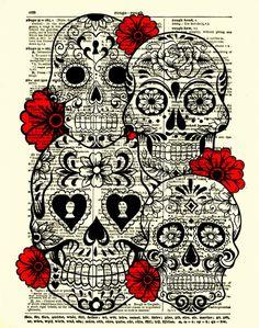 Sugar Skull Kunst Sugar Skull Collage von reimaginationprints, $10.00