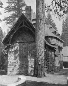 Photograph of the exterior of Wyntoon, as published in Architectural Review in 1904. The building was designed by Bernard Maybeck for his client Phoebe Apperson Hearst, and built along the McCloud River in remote Northern California near Mount Shasta. It burned down in late 1929.