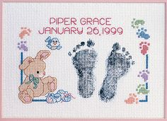 Baby Footprints Birth Announcement - Cross Stitch Kit