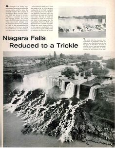 News article about the stopping of the flow at Niagara Falls