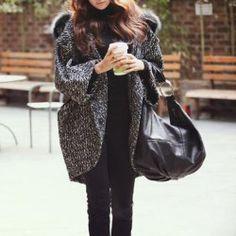 $19.23 Manteau de Coton Ample Manches Chauve-souris Capuche à Revers Fourrure avec Poches pour Femmes