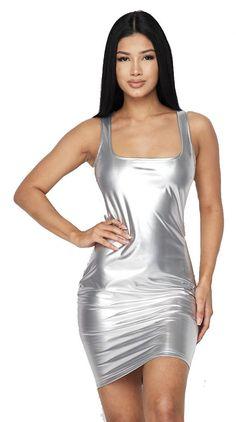 Solid liquid latex tank dress with back zipper Latex Suit, Latex Dress, Metallic Dress, Silver Dress, Rubber Dress, Beautiful Lingerie, Tank Dress, Bodycon Dress, Zipper