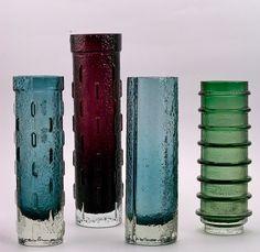 Collection of 1960s cylinder vases designed by Tamara Aladin for Riihimaki. Green hooped vase was designed by Joseph Schott for Sweden's SmalandShyttan. Check www.twenty21.com.au