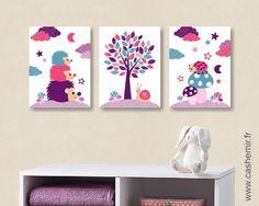 Lot de 3 illustrations pour chambre d'enfant et bébé fille coccinelle hérisson rose violet turquoise réf.116 : Chambre d'enfant, de bébé par cashemir