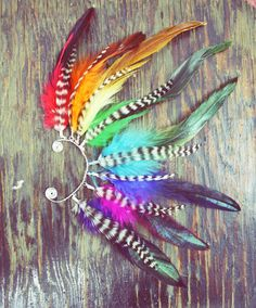 Serious Statement Piece! Handmade Rainbow Feather Ear Cuff by Cloud9Jewels on Etsy.