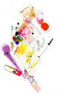 Makeup kit illustration by Lucia Emanuela Curzi
