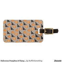 Halloween Pumpkins & Flying Bats Travel Bag Tag